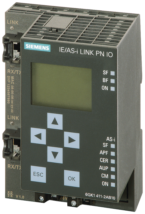 IE/AS-i Link PN IO, gateway PROFINET/AS-i acc. to AS-i specification V3.0 motor - 6GK1411-2AB10