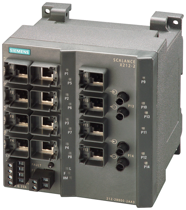 SCALANCE X212-2, managed IE switch, 12x 10/100 Mbit/s RJ45 ports, 2x 100 Mbit/s Multimode BFOC, LED diagnostics, error-signaling contact with set butt motor - 6GK5212-2BB00-2AA3