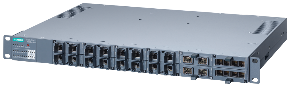 SCALANCE XR324-4M EEC  Managed IE switch, 19  rack  16x 10/100/1000 Mbit/s for RJ45 ports electrical  4x 100/1000 Mbit/s for 2-port media modules, ele motor - 6GK5324-4GG10-2ER2