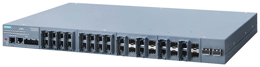 SCALANCE XR526-8C  managed IE switch  Layer 3 with key plug available  power supply 2x 230 V AC  24x 10/100/1000 Mbit/s RJ45  8x 100/1000 Mbit/s SFP C motor - 6GK5526-8GS00-4AR2