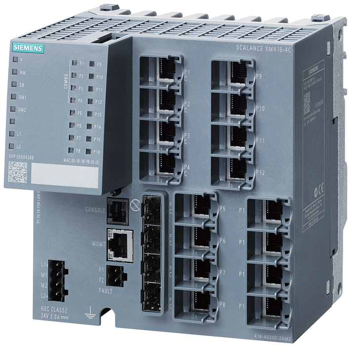 SCALANCE XM416-4C   managed modular IE switch  16x 10/100/1000 Mbit/s RJ45  4x 100/1000 Mbit/s SFP  contains 4 combo ports  in total 16 ports can be u motor - 6GK5416-4GS00-2AM2