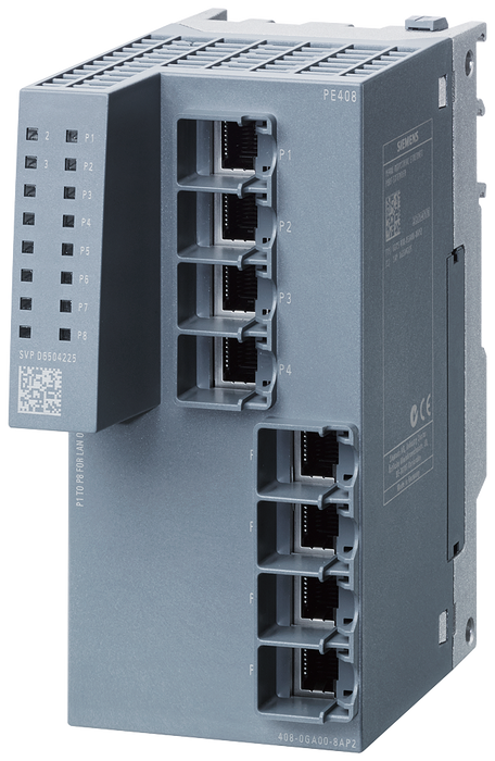 PE408 Port Extender for SCALANCE XM-400 managed modular IE switch  extension by 8x 10/100/1000 Mbit/s RJ45 motor - 6GK5408-0GA00-8AP2