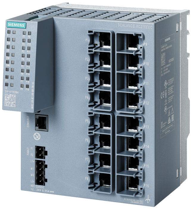 SCALANCE XC216EEC Manageable layer 2 IE switch  16x 10/100 Mbit/s RJ45 ports  1x console port  Diagnostics LED  Redundant power supply  with painted p motor - 6GK5216-0BA00-2FC2