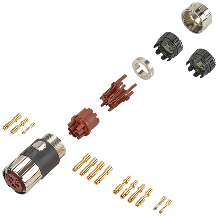 Power connector 6-pole Sz. 1.5 type: 6FX2003-0LU10 Socket, Union nut 1x 6-pole insulator 5x socket contact (1.5-4 mm2) 5x socket contact (6-16 mm2) 3x motor - 6FX2003-0LU10