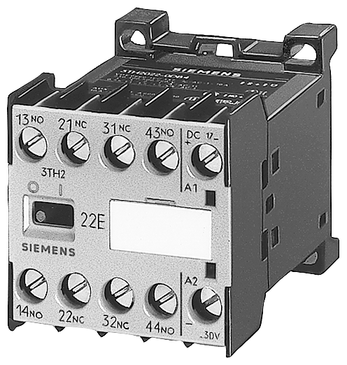Contactor relay 22E, 2 NO + 2 NC, flat connector terminal, AC op. 230 V AC 50 Hz, 277 V motor - 3TH2022-1AP0