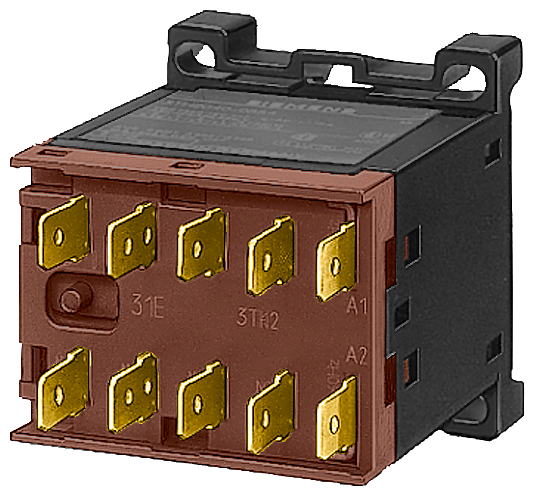 Contactor, Size 00, 3-pole, AC-3 4 kW/400 V, flat connector terminal Auxiliary switch 01E (1 NC) 42 V AC 50 Hz/50 V AC 60 Hz AC operation Snap-on moun motor - 3TF2001-3AD0