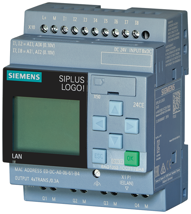 SIPLUS LOGO! 24CE -20...+70°C start up -20°C with conformal coating based on 6ED1052-1CC08-0BA0 . logic module, Display PS/I/O: 24 V/24 V/24 V trans., motor - 6AG1052-1CC08-7BA0