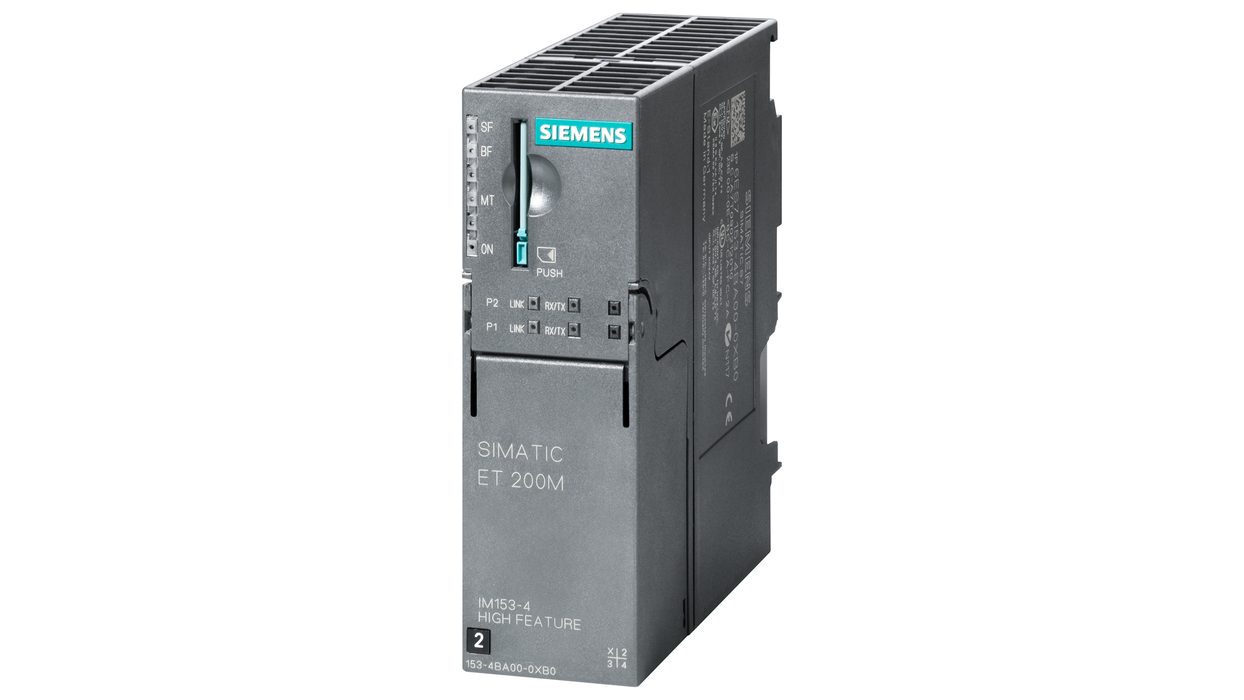 SIMATIC DP, Connection ET 200M IM 153-4 PN IO High Feature for max. 12 S7-300 modules, supports fail-safe module, HART modules, shared device, Medium motor - 6ES7153-4BA00-0XB0