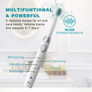 2 sboly 508 Sonic Electric Toothbrushes, Black and White