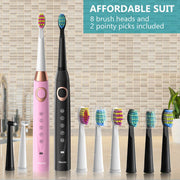 2 Sboly 508 Sonic Electric Toothbrushes, Black And Pink