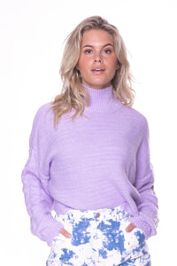 Sophia Highneck Cropped Sweater Lilac