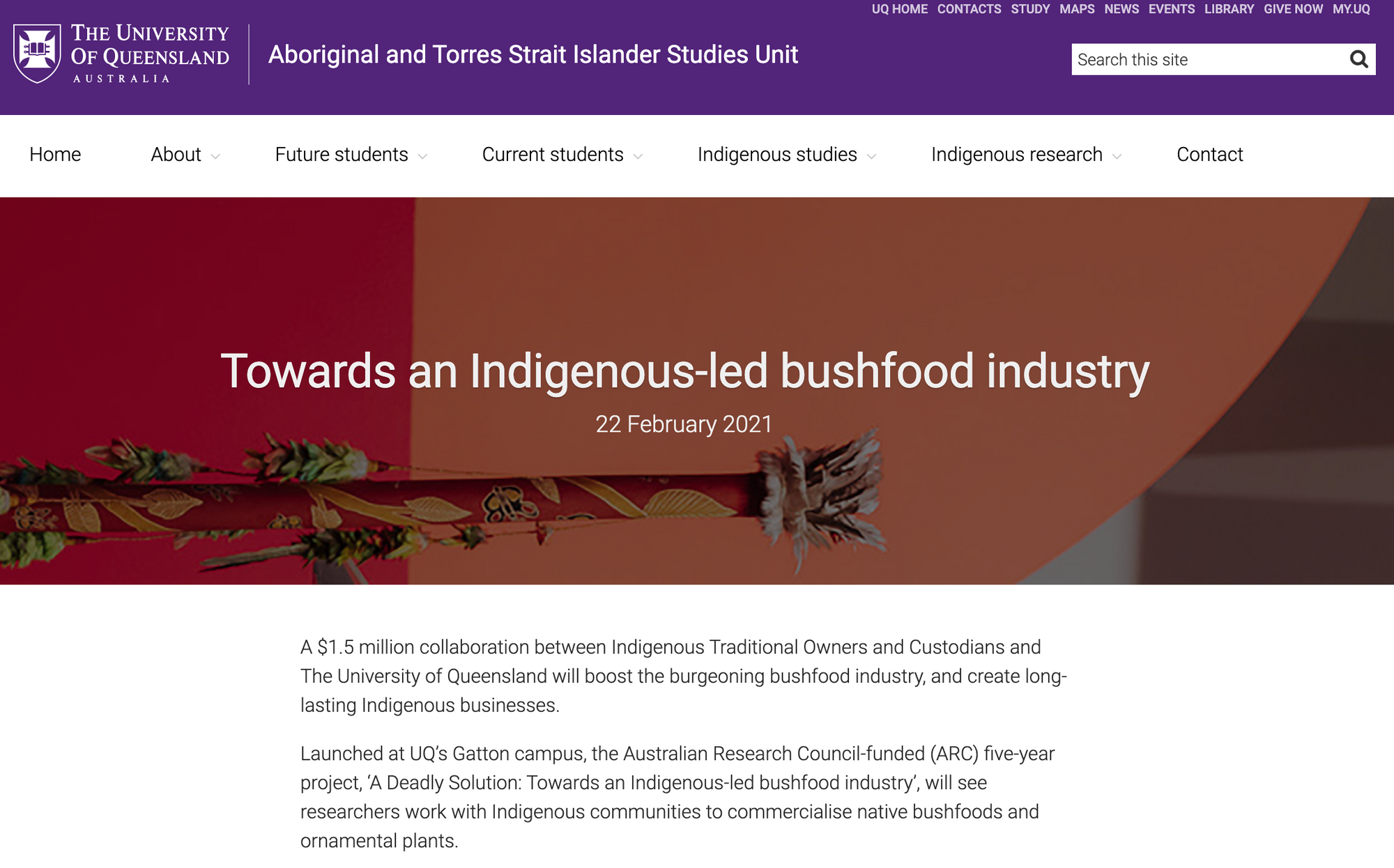 University of QLD: $1.5M, 5yr project, to boost Indigenous-led bushfood industry