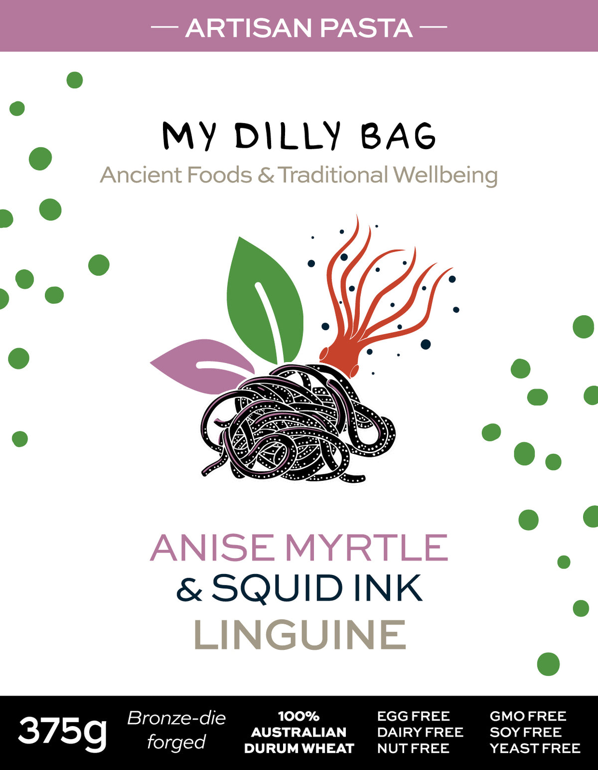 Anise Myrtle & Squid Ink Linguini