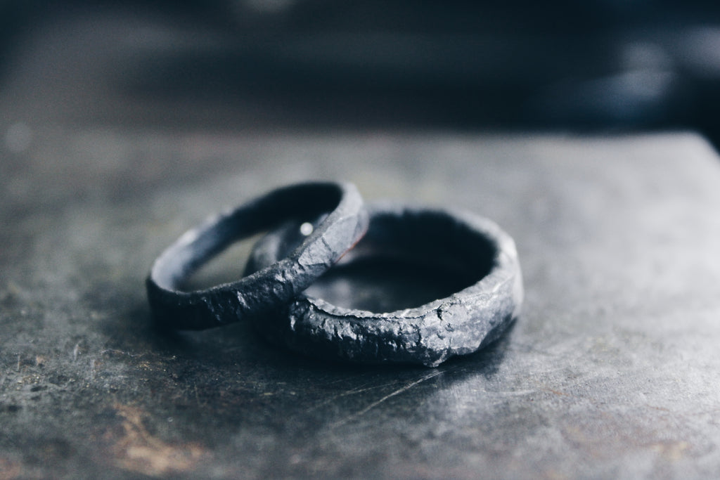 Stale and Co Blacken Reticulated Surface Silver Wedding Bands