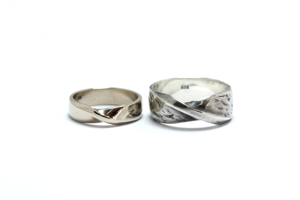 Mobius Strip Wedding Bands Hand Carved and Cast in Sterling Silver and 18K White Gold
