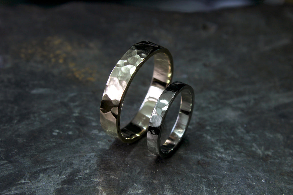Stale and Co Hammered Textured Wedding Bands in 14K Yellow and White Gold