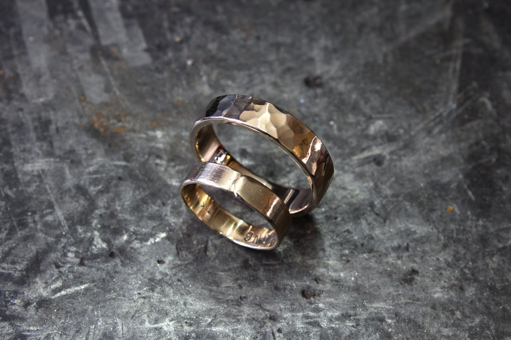Stale and Co 14K Hammered Textured + Raw Overlayed Wedding Bands