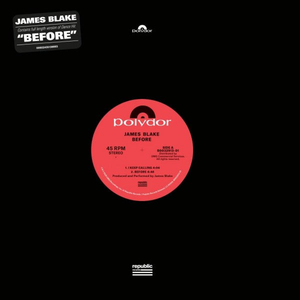 "James Blake - Before: 12"" Vinyl EP"