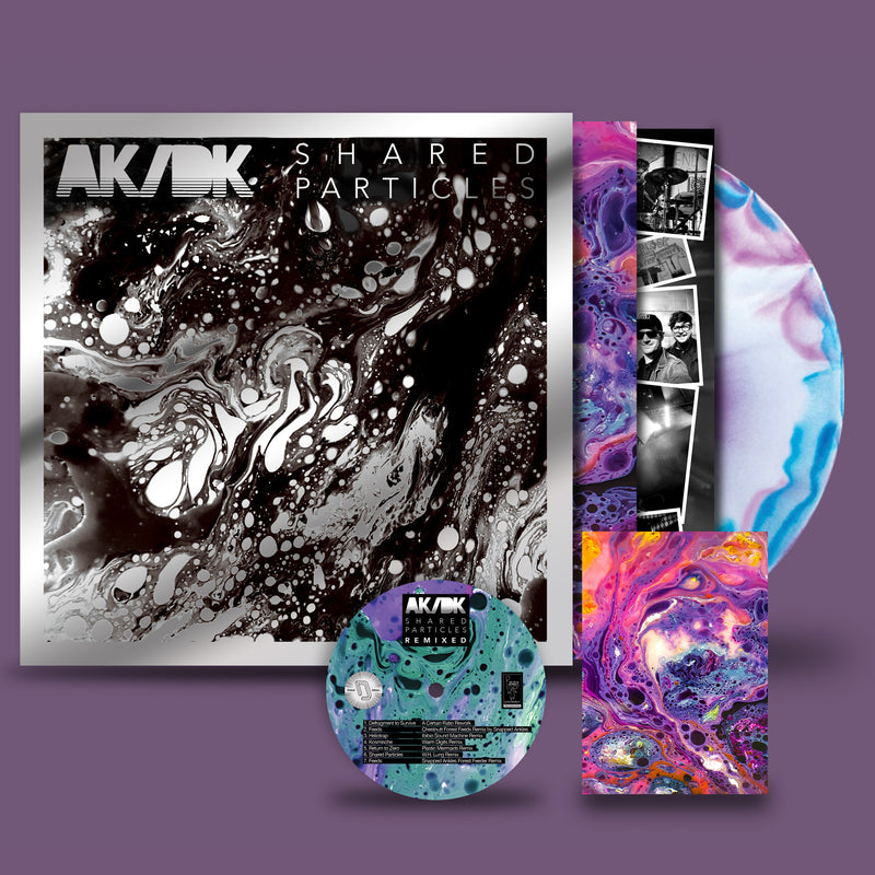 AK/DK - Shared Particles : Exclusive 'Starburst' 3 colour Vinyl LP in Mirrorboard sleeve with signed postcard and remix CD *DINKED EXCLUSIVE 069*