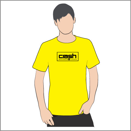 Crash Records Leeds - T Shirt: Yellow with black print