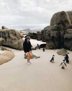 "My favorite part of the trip was meeting these tiny penguins!!</br></br>Date: 2020-03-14</br></br>Location: Boulders Beach Penguin Colony</br></br>Outfit: <a href=""https://www.floatthere.com/search?q=Outdoor+Voices"">Outdoor Voices</a>"