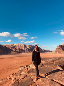 "Brief detour to Mars. Just kidding, this is Wadi Rum</br></br>Date: 2020-01-08</br></br>Location: Wadi Rum, Jordan</br></br>Outfit: <a href=""https://www.floatthere.com/search?q=free+people+off-shoulder+top"">Free People Off-Shoulder Top</a>"