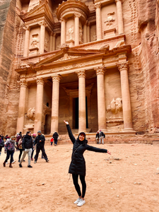 "Embracing my inner tourist at the incredible sandstone city of Petra</br></br>Date: 2020-01-03</br></br>Location: Petra, Jordan</br></br>Outfit:  <a href=""https://www.floatthere.com/search?q=lululemon+jacket"">Lululemon Jacket</a>"