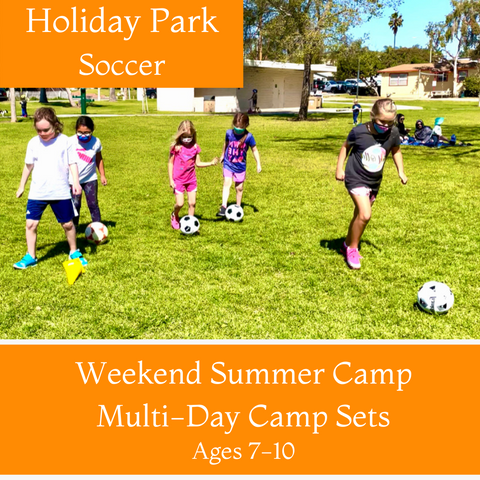 Ages 7-10 | Summer Soccer<br>Holiday Park, Carlsbad<br>6/5, 6/12, 6/19, 7/3, 7/10, 7/24, 7/31, 8/7<br>Saturdays | 11:30AM - 12:30PM<br>Select Multi-Day Camp Sets