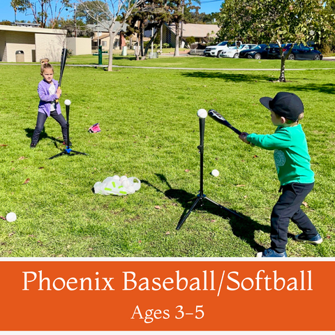 Phoenix Baseball/Softball<br>Ages 3-5<br>Holiday Park, Carlsbad<br>3/6 - 4/3 Saturdays<br>11:15AM- 12:15PM<br>5 Camps