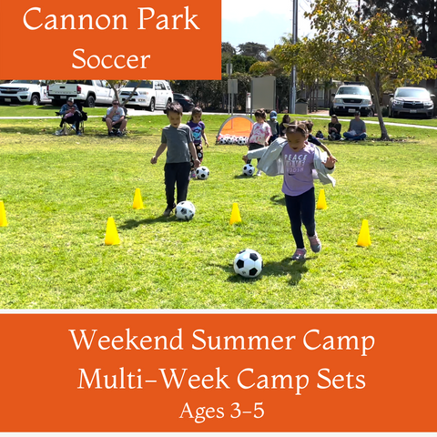 Ages 3-5 | Summer Soccer<br>Cannon Park, Carlsbad<br>6/6, 6/13, 6/20, 7/11, 8/1, 8/8 <br>Sundays | 10:00AM - 11:00AM<br>Select Multi-Week Camp Sets
