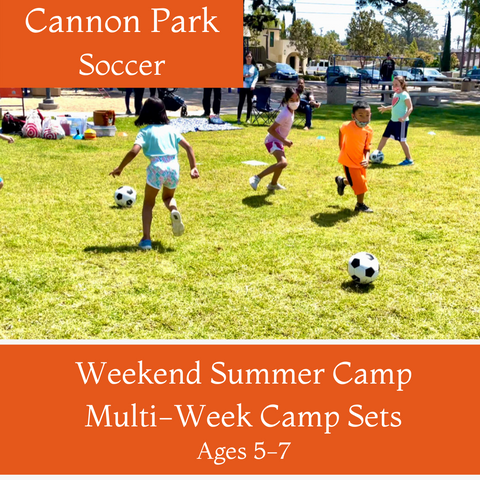 Ages 5-7 | Summer Soccer<br>Cannon Park, Carlsbad<br>6/6, 6/13, 6/20, 7/11, 8/1, 8/8 <br>Sundays | 11:15AM - 12:15PM<br>Select Multi-Week Camp Sets