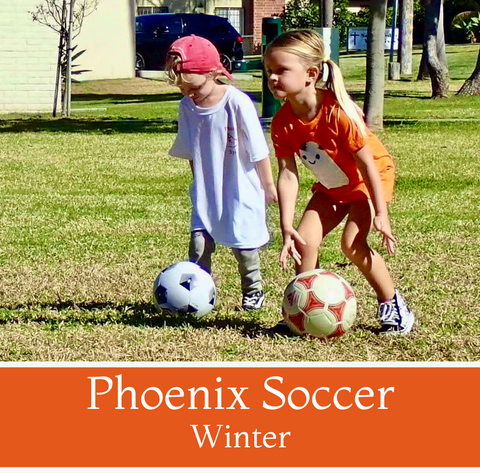 *FULL*<br>Phoenix Soccer<br>Ages 3-5<br>Holiday Park, Carlsbad<br>(2/27 - 4/3)<br>Saturdays<br>10:00AM - 11:00AM<br>6 Camps