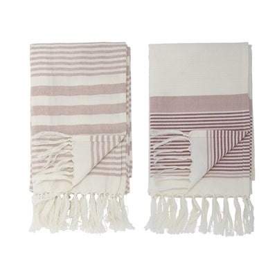 Serviettes en coton rose, lot de 2