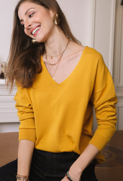 Pull basique oversize - moutarde