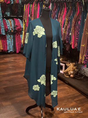 WAI'ALE'ALE COVER UP (Gardenia on Teal)