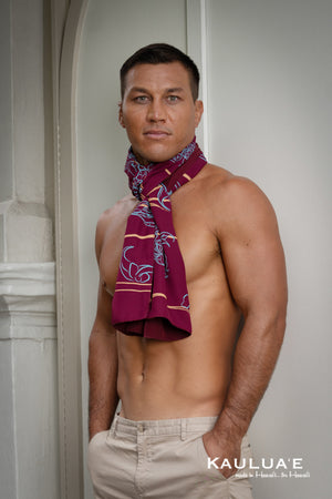 LEIALOHA SCARVES (Breakers Jade on Burgundy)