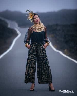 HULALI Wide Leg Pants-Gold Nupepa (Black)