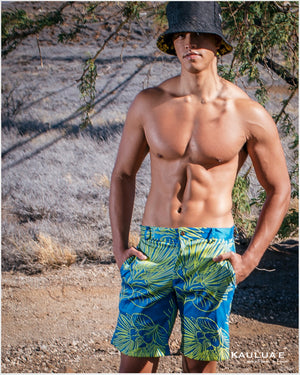 Ho'opili Shorts-Yellow Lehua (Peacock Blue)