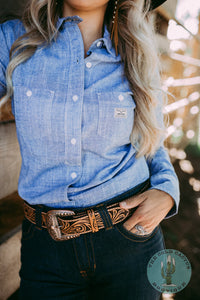 The 'Prospector' Kimes Ranch Chambray Button Up (1 2X Only)
