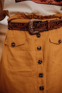 Floral Tooled Belt with Buckle