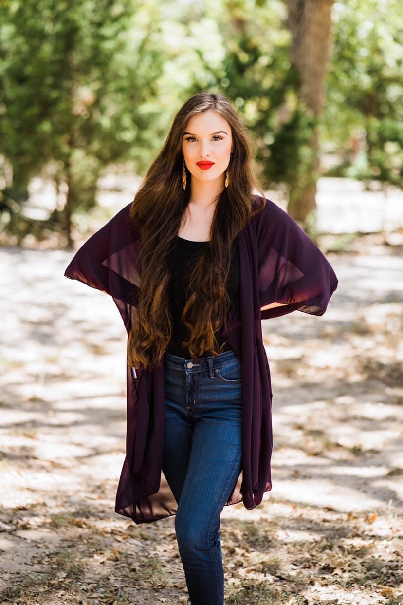 Urban Cowgirl Plum Chiffon Semi-Sheer Duster