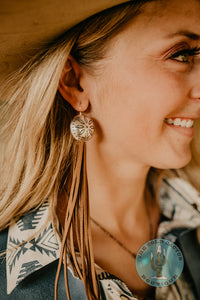 Concho Earrings with Fringe (Tan and Black)