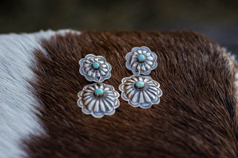 Sterling Silver and Turquoise Concho Drop Earrings