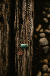 Large Genuine Turquoise and Sterling Silver Bar Necklace