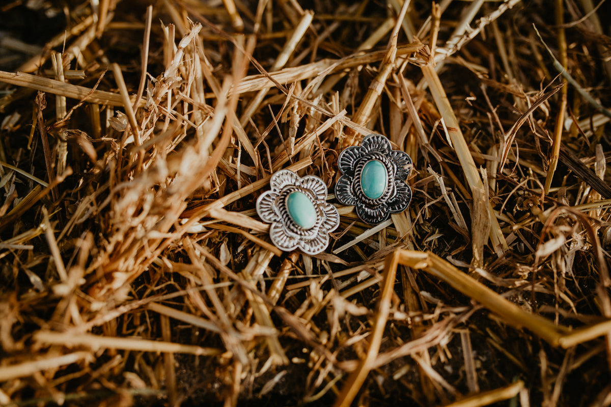 Genuine Turquoise and Sterling Silver Stamped Floral Earrings