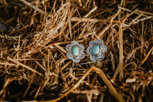 Load image into Gallery viewer, Genuine Turquoise and Sterling Silver Stamped Floral Earrings