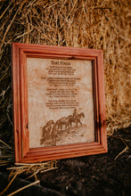 "Load image into Gallery viewer, ""The Path"" Cowhide Poem with Custom Cedar Frame (10X12)"