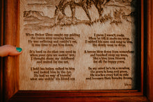 "Load image into Gallery viewer, ""Now Angels Ride Him/Her"" Cowhide Poem with Custom Cedar Frame (10X12)"