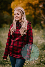 Load image into Gallery viewer, 'Dawson City' Red Plaid Fleece Pullover with Hood