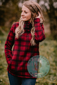 'Dawson City' Red Plaid Fleece Pullover with Hood